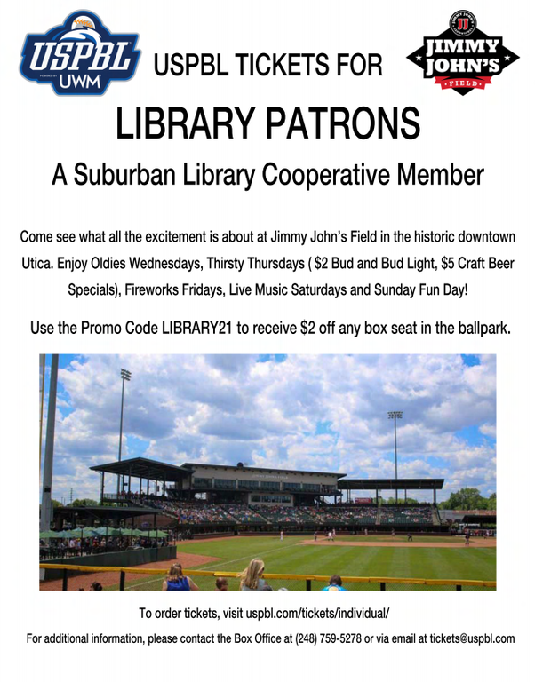 Follow the link to save $2 off per ticket with code LIBRARY21