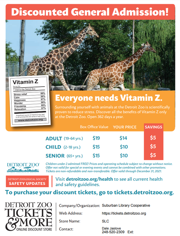 Save on Zoo Admission.  Follow the link and use store code: SLC