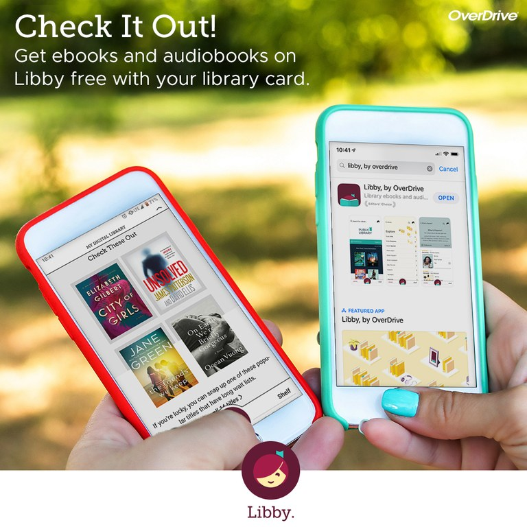 Image of 2 mobile devices with ebooks and audiobooks
