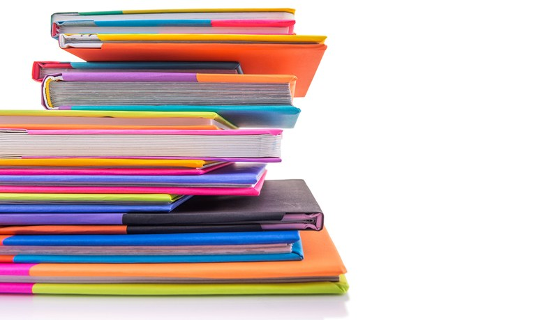 Colorful books stacked up.