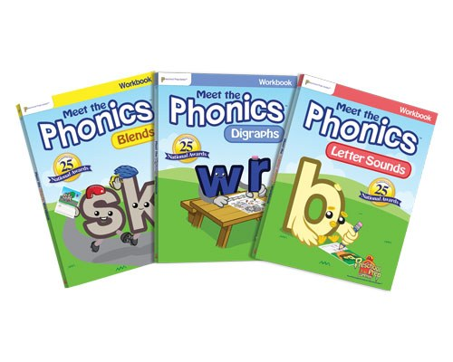an image of 3 preschool prep phonics items. Blends, Digraphs, and Meet the Letter Sounds.