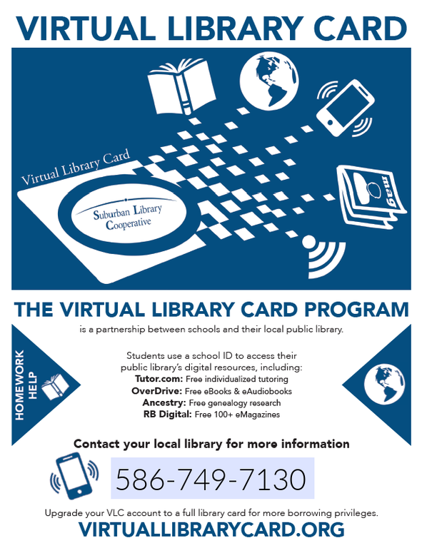 Graphic from Suburban Library Cooperative about the Virtual library program.  Links to Virtuallibrarycard.org